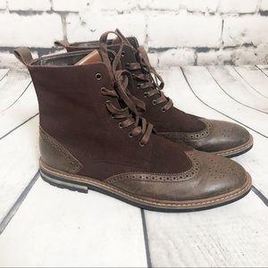 ROBERT WAYNE Brown Lace Up WingTip Oxford shoes